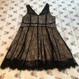 Lace overlay nude and black dress